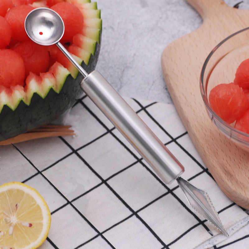 304 Stainless Steel Buah Melon Baller Berkepala Ganda Pisau Semangka Kreatif Menggali Bola Sendok Qie Gua Produk Yang Berguna CRE