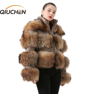 Image 1 - QIUCHEN PJ19017 2020 Winter Jacket Women Parka Real Fur Coat Natural Raccoon Fur winter women Coat Bomber Jacket Streetwear