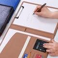 A4 multifuncional pasta gerente de negócios com calculadora caderno couro contrato livro high-end material de escritório logotipo personalizado
