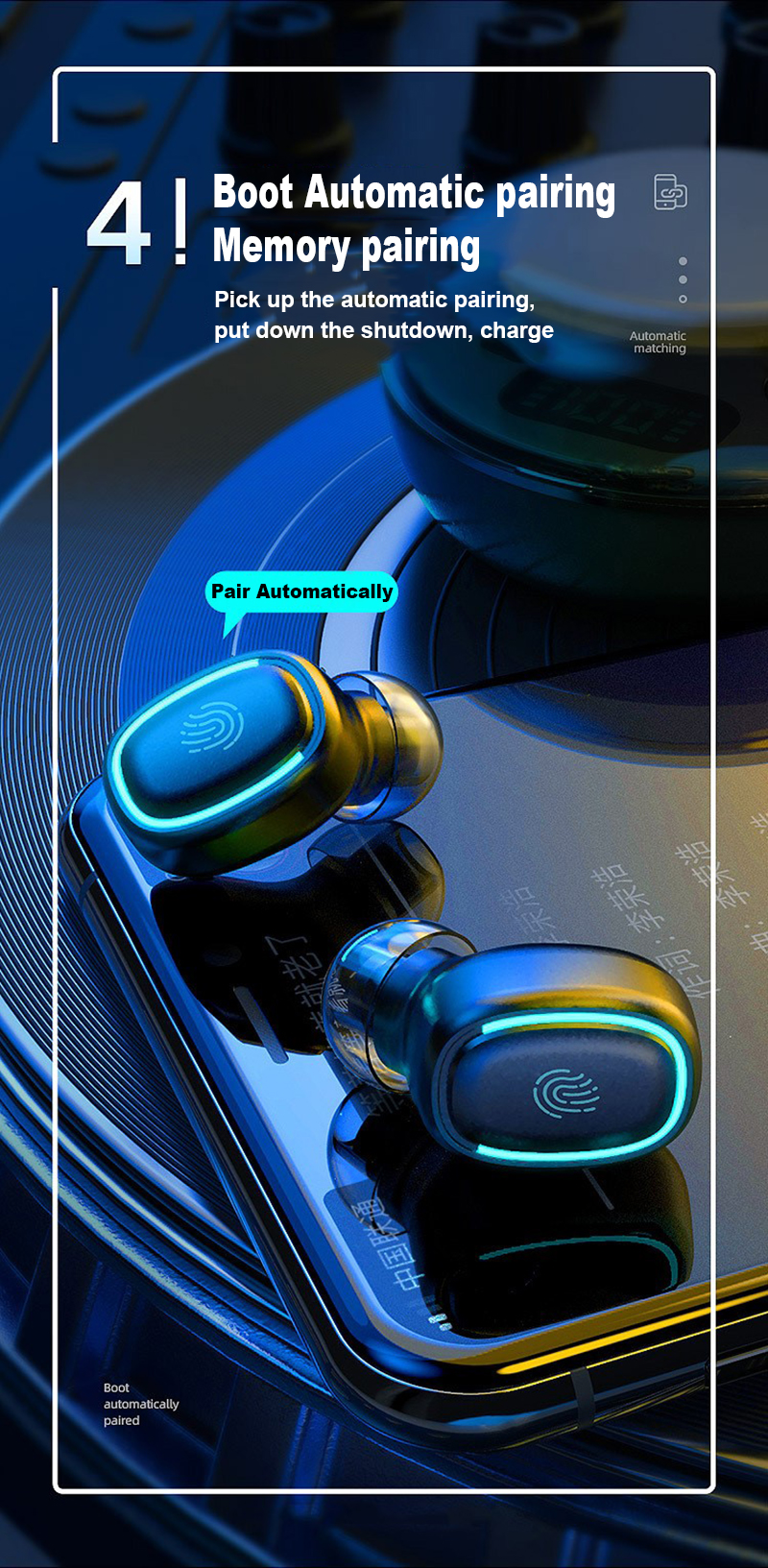 Wireless Earbuds Bluetooth 5.0 Earphones Fingerprint Touch IPX5 Waterproof LED Display In-ear Sports Stereo Wireless Headphones