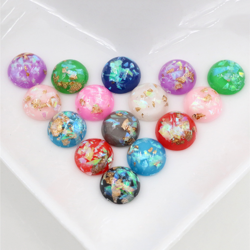 10mm 40pcs/Lot Mix Colors New Fashion Built-in Metal Foil Flat Back Resin Cabochons Cameo Suppies