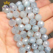 Perles en pierre naturelle, 8mm, aigue-marine bleues à facettes, perles espacées amples, pour la fabrication de bijoux, Bracelet à bricoler soi-même goujons d'oreille, accessoires de 7.5 pouces