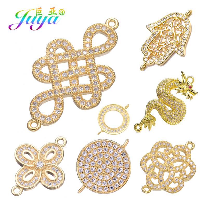 Juya Gold/Silver/Rose Gold Chinese Knot Dragon Flower Hamsa Connector Charms For Handmade Bracelet Earring Making Accessories