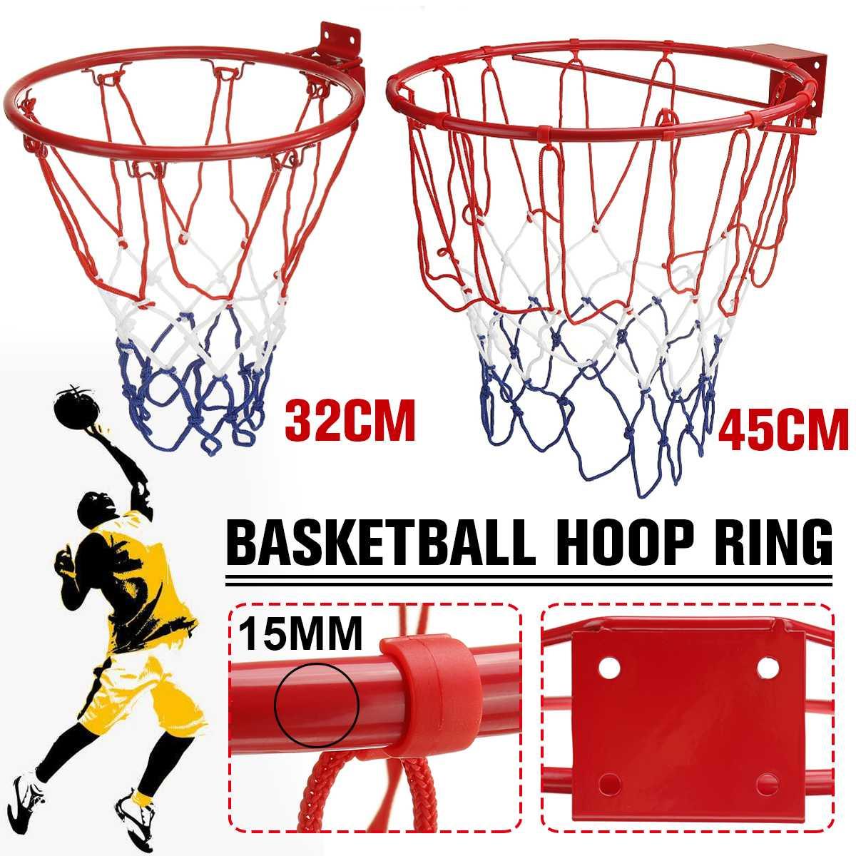32 см/45 см стальное кольцо для баскетбола для детей и взрослых с винтами, настенная баскетбольная сетка для занятий спортом на открытом возду...