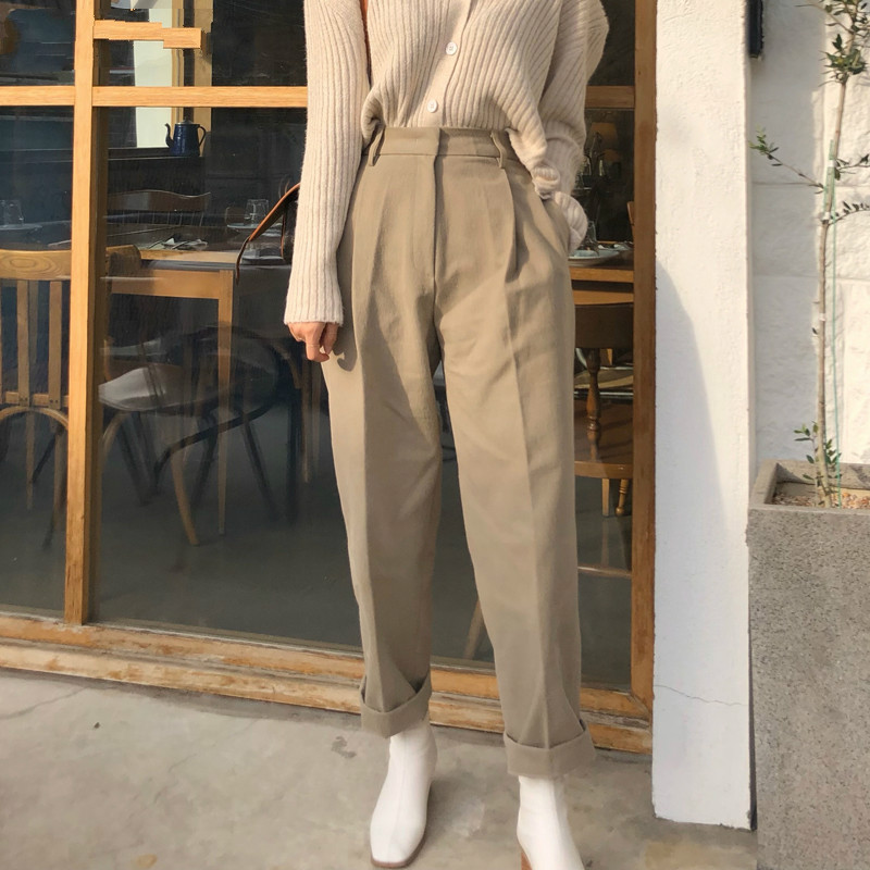 Fashion High Waist Loose Pants for Women Casual Pockets Long Pants Female Stylish Zipper Fly Capris femme 2020