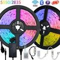 Bluetooth Luces Светодиодные ленты светильник s RGB 5050 2835 SMD гибкая лента Водонепроницаемый RGB 5 м 10 м клейкие диода WiFi ИК Управление светодиодный свет...