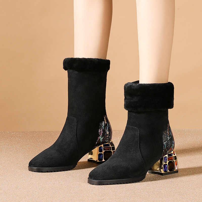 FEDONAS Rhinestone topuklu kısa çizmeler kadın sonbahar kış parti temel ayakkabı kadın hakiki deri yüksek topuklu klasik yarım çizmeler