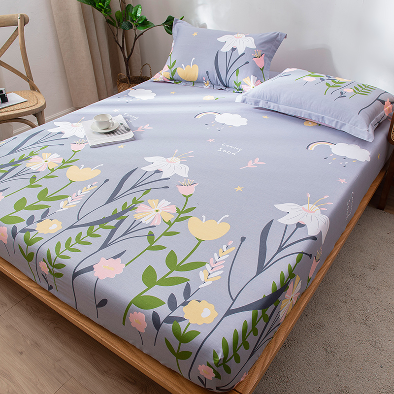 1Pcs Cotton Bedsheets Fitted Sheet Bedspread Queen King Bed Sheet Elastic Band Single Double <font><b>120*200</b></font>/150*200/180*200cm Deep 25cm image