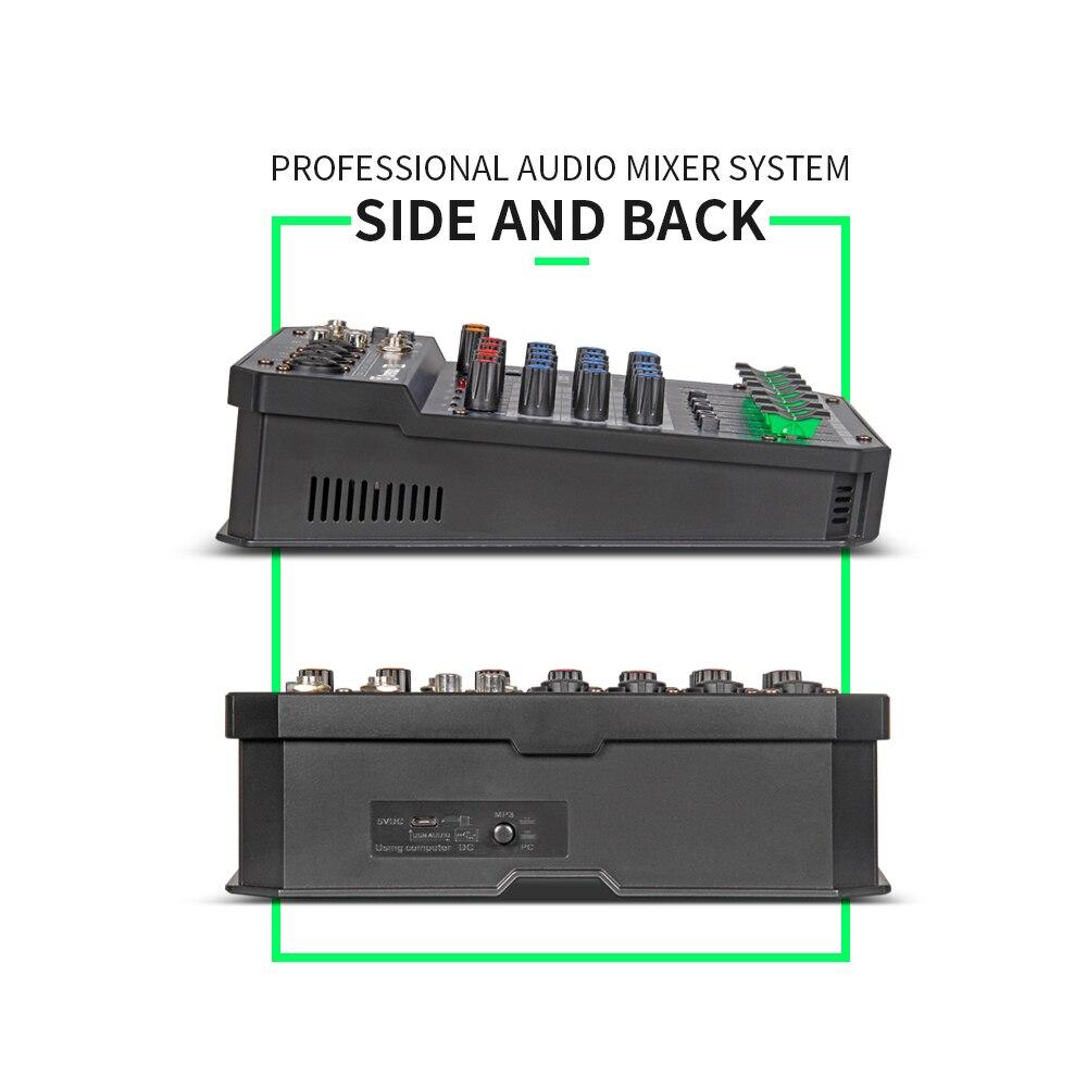Console de mixage audio numérique portable professionnel X4/6 canaux avec carte son à effet DSP, bluetooth, USB, pour enregistrement DJ PC - 2