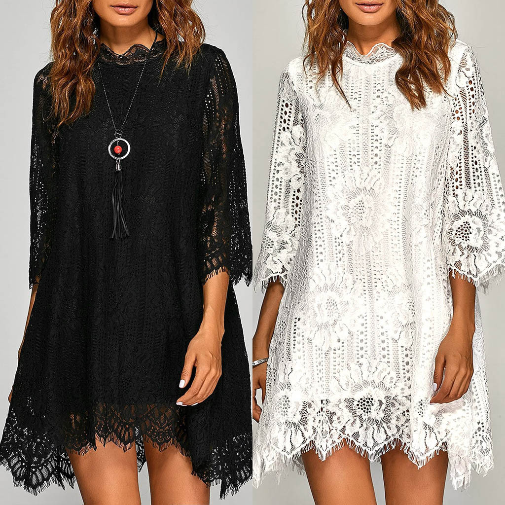 sukienki vestidos ropa mujer women dress's Three Quarter Sleeve O-neck Solid Lace Print Loose winter dress robe hiver femme