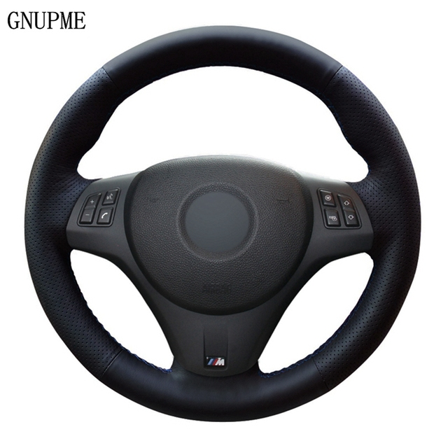 רכב הגה כיסוי שחור עור מלאכותי עבור BMW M ספורט M3 E90 E91 (סיור) e92 E93 E87 E81 E82 (קופה) E88 X1 E84