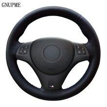 Capa de volante do carro couro artificial preto para bmw m sport m3 e90 e91 (touring) e92 e93 e87 e81 e82 (coupe) e88 x1 e84