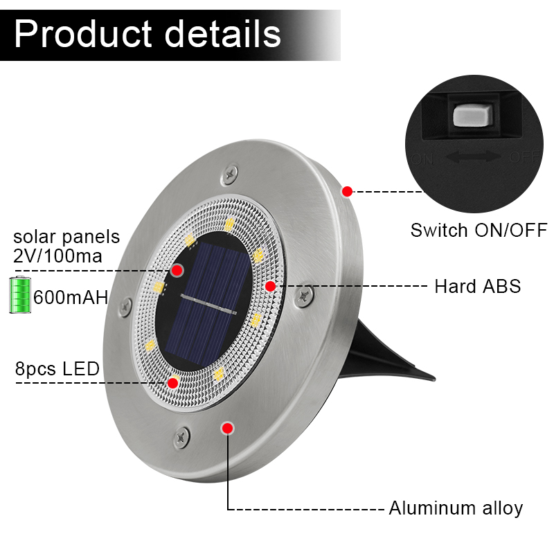 Round Shaped In Ground Solar Outdoor light with 8 LED and Infrared Light Sensor for Garden Pathway 1