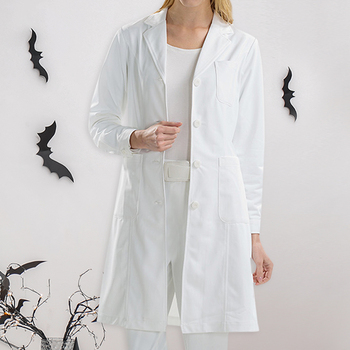 Halloween Holiday Cosplay Costume Loose Long Sleeve Button Down Nurse Coat Nurse Clothing Lapel Collar Doctor Suit Uniform