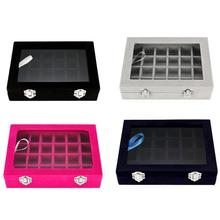 With Transparent Glass Lid 24 Grid Jewelry Tray Showcase Display Storage Box Earrings Rings Organizer top grade 12 grid linen glass lid bracelet loose bead box jewelry boxes display box bracelet display box jewelry display shelf
