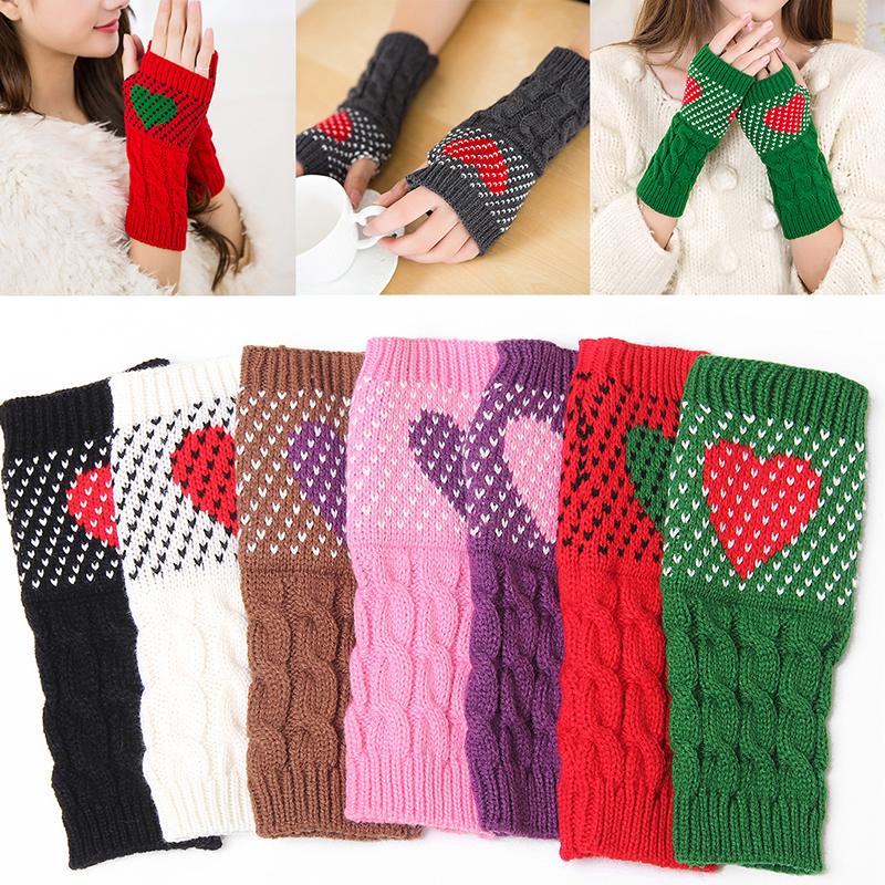 1 Pair Gloves Winter Autumn Christmas Heart Typing Gloves Women Girls Arm Wrist Warmer Sleeves Thick Knitted Mittens Gloves Red