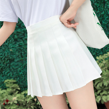 Pleated Skirt Student 2020 Autumn Winter Preppy White Black Short Skirt Cute Korean Ladies High-waisted A Line Skirts Asian Size image