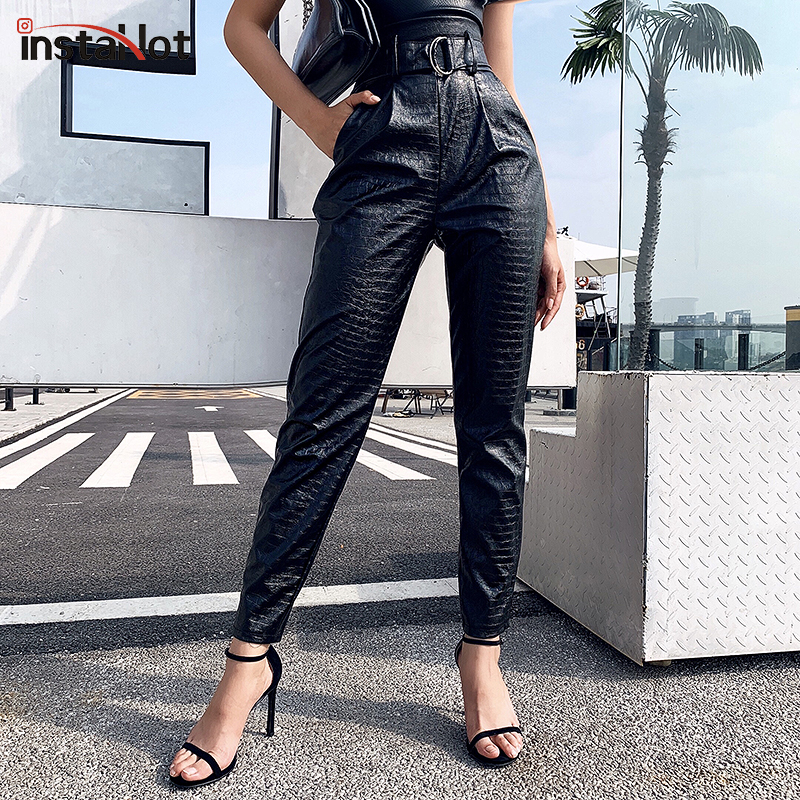 InstaHot Faux Leather PU Hamer Pants Women Casual Elegant Black Trousers High Waist With Belt Ladies Capris Female Autumn Bottom