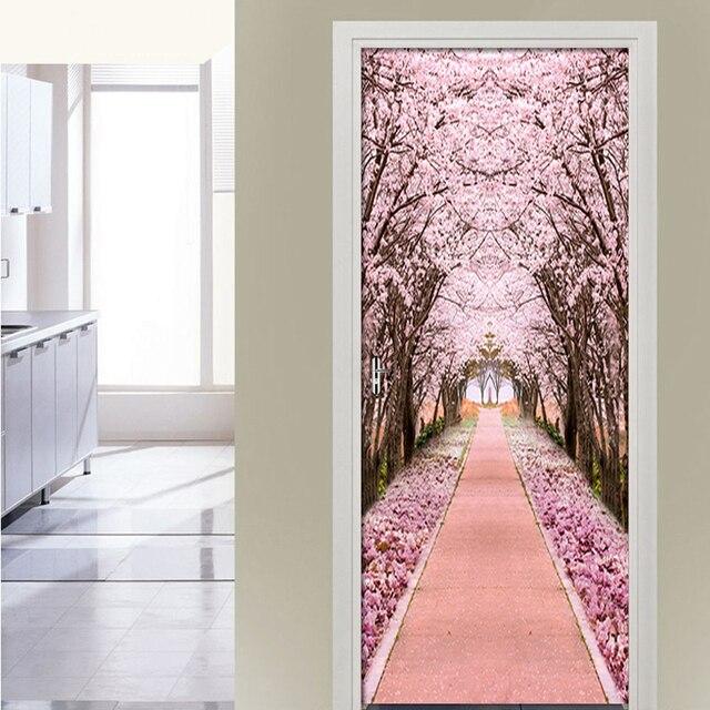 Фото наклейка на дверь из пвх самоклеящаяся водонепроницаемая с розовым