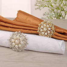 1Piece Rhinestone Beaded Hollow Out Napkin Ring Buckle Wedding Party Dining Table Decoration Home Hotel Supplies