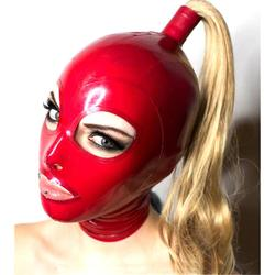 sexy exotic lingerie handmade red latex hoods with blond wig tress ponytail cekc club wear fetish costumes costomize size XS-XXL