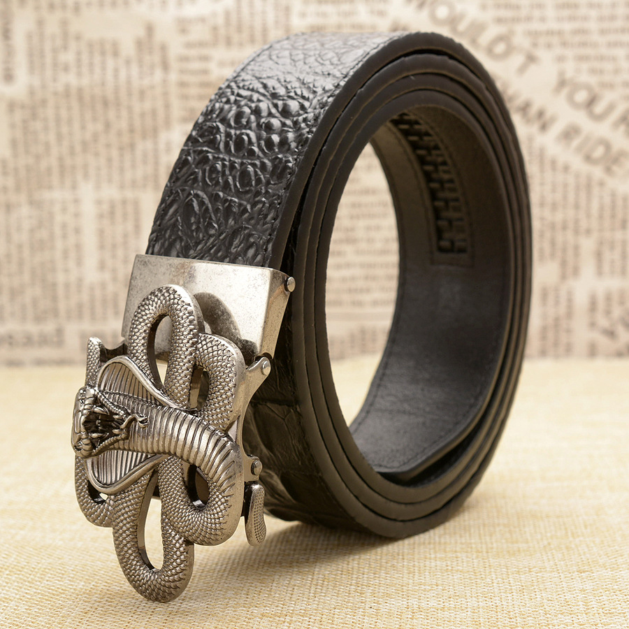 New Style Snake Belts Men High Quality Genuine Leather Men Belts Strap Male Retro Cobra Automatic Buckle Belt for Men