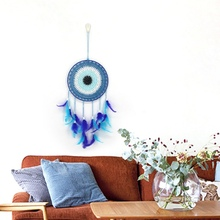 Handmade Blue Feather Dream Catcher Decorative Hanging Ornaments For Wall Window Bedroom Living Room Decor