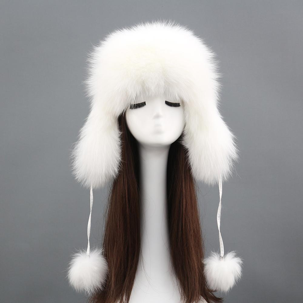 Newest Winter fox fur leifeng hat raccoon fur earmuffs warm windproof  Custom Wholesale ear flap hat
