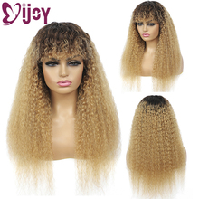 Wigs Human-Hair IJOY Honey-Blonde Kinky Straight Bangs Black Full-Machine Women Brazilian