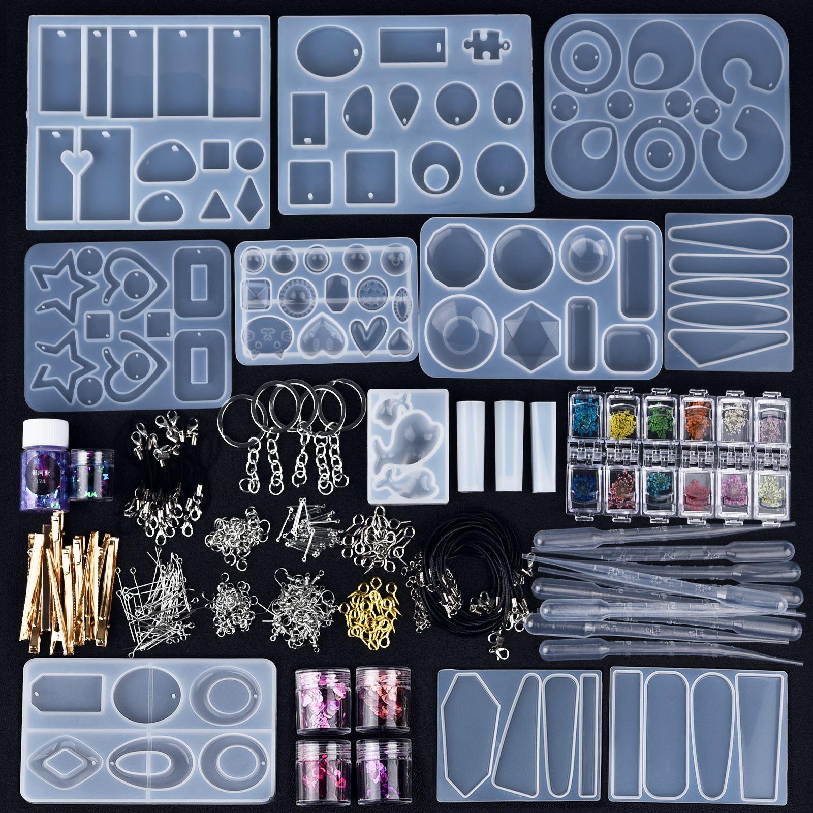 Kits de Moldes de resina epoxi de joyería de estilo mixto para fabricación de joyería DIY, pendientes, colgante de horquilla, accesorios de Resina de silicona UV