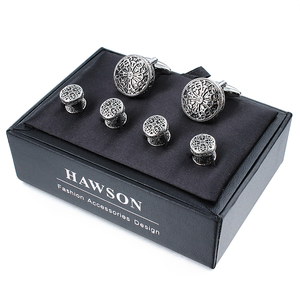 Image 5 - Hawson 빈티지 커프스 단추 및 남성용 턱시도 셔츠 스터드 레트로 플라워 패턴 상자가있는 남성용 베스트 웨딩 비즈니스 선물