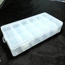 1PC Transparent plastique Rectangle 18 treillis boîte de rangement boucle d'oreille anneau bijoux Bin perle Case conteneur bonbons stockage
