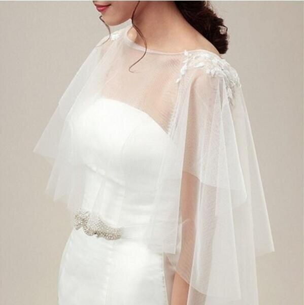 Wedding Lace Tulle Long Cape Bridal White Ivory Jacket Shawl Applique Cloak Plus