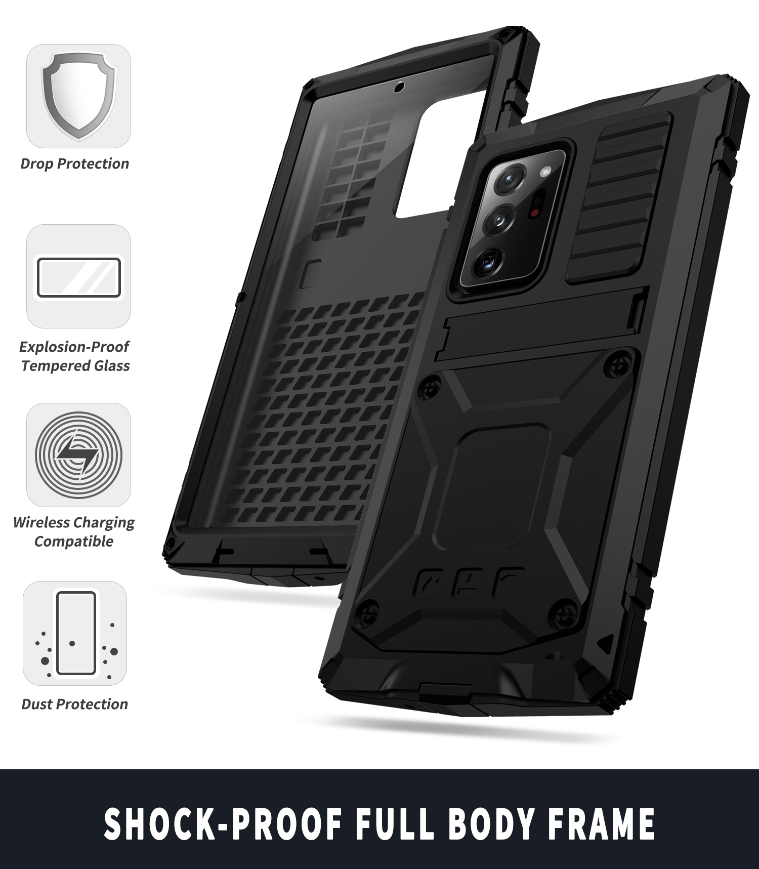 With Bracket+Full Protective For Samsung S21 Plus Ultra A52 A72 Note 20 Ultra 5G Case Kickstand Dual Layer Protective Shockproof 6