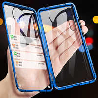 360 Full Protection Magnetic Metal Case For Samsung Galaxy A50 A30 A70 A7 A8 A9 2018 S10 Plus Double sided Tempered Glass Cover