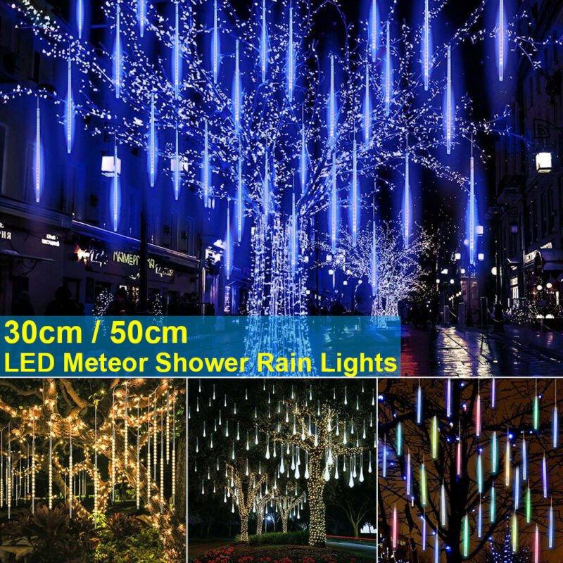Waterproof 3 Colors EU/US/UK Plug Garland 8 Tubes LED Meteor Shower Rain String Light 50cm 30cm Icicle Snowfall Xmas Decoration