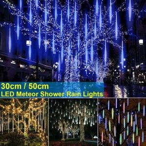Waterproof 3 colors EU/US/UK Plug Garland 8 Tubes LED Meteor Shower Rain string light 50cm 30cm Icicle Snowfall Xmas decoration(China)