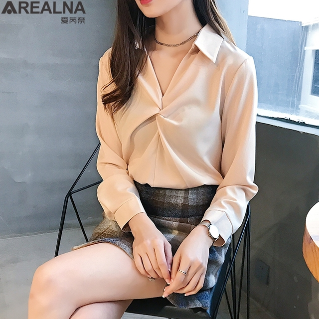 2020 autumn Women Blouse Korean office Long Sleeve Womens Tops And Blouses Vintage Folds Shirts Blusas Roupa Feminina Tops 1