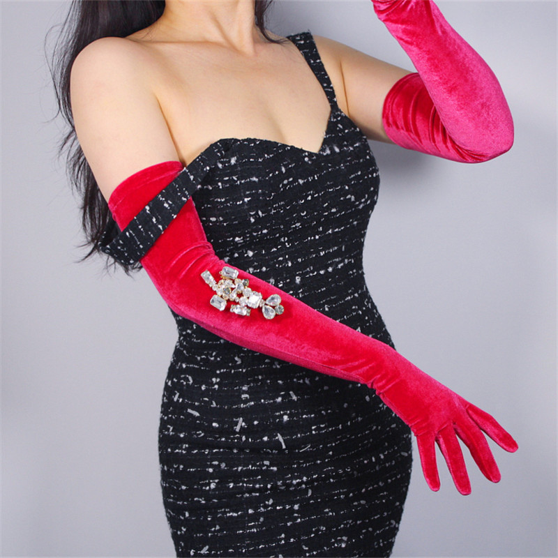 Velour Long Gloves 60cm Pink Rose Red Female High Elastic Swan Velvet Gold Velour Touchscreen Women Gloves Free Shipping WSR22