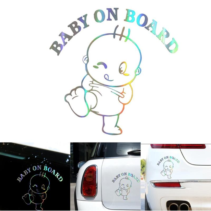 Image 5 - Colorful Laser Baby On Board Car 3D Sticker Funny Vinyl Automobile Styling Decal Smooth Lifelike and Beautiful Picture-in Car Stickers from Automobiles & Motorcycles