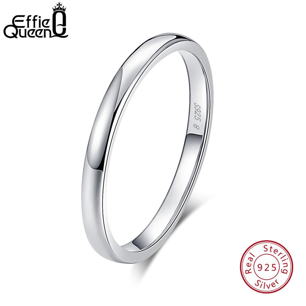 Effie Queen 925 Sterling Silver Women Finger Rings Polished Round Simple Wedding Band Engagement Female Jewelry TSR74