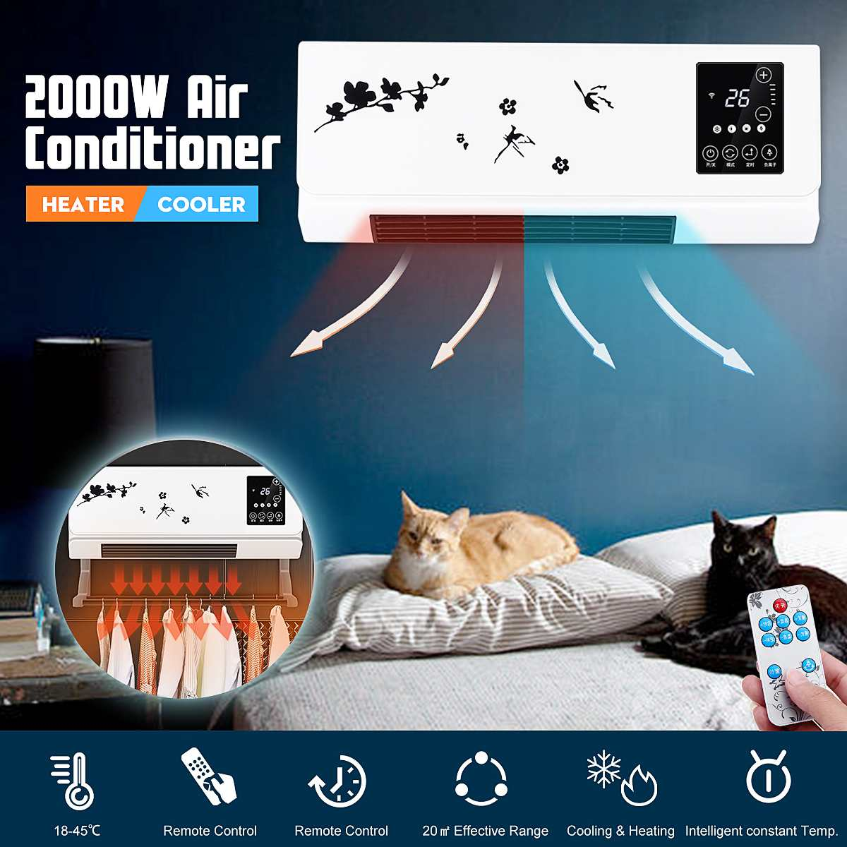 2000W 2 Install Method LED Touch Screen Electric Air Heater Heating And Cooling Air Conditioner Wall And Desktop Clothing Dryer