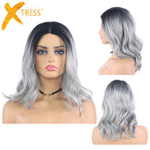 Ombre gri kahverengi renkli sentetik dantel peruk doğal dalga kısa postiç kadınlar için yüksek sıcaklık dantel peruk saç parçaları X TRESS