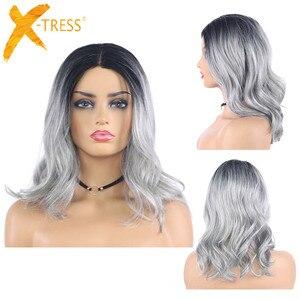 Image 1 - Ombre אפור חום בצבע סינטטי תחרה פאות טבעי גל קצר בוב פאות עבור נשים גבוהה טמפרטורת תחרה פאת שיער חתיכות X TRESS