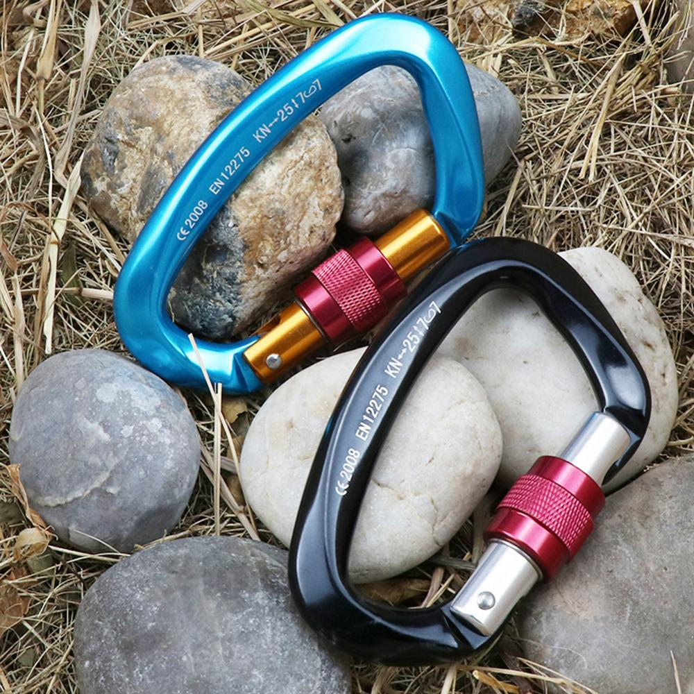 Climbing Carabiner 12KN D Shape Safety Lock Professional Climbing Equipment Security Safety Lock Outdoor Climbing Accessories