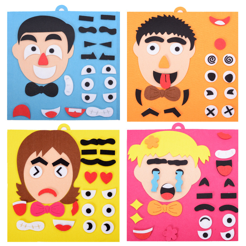 DIY Creative Facial Expression Puzzle Toy Kindergarten Teaching Aids Facial Expressions Educational Toys Handmade Toys For Kids