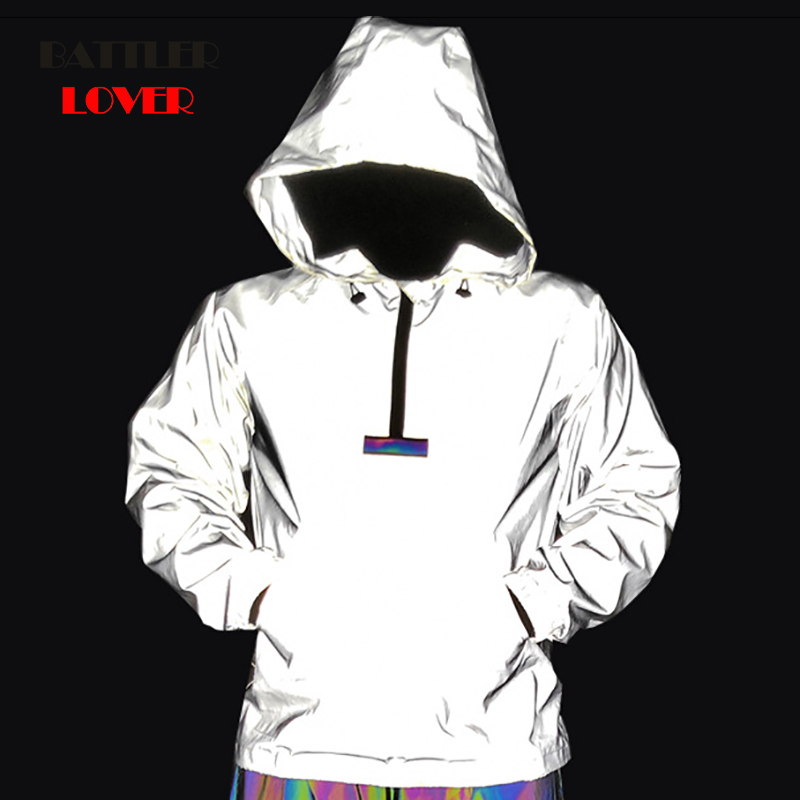Drop Shipping Men Night Reflective Hip Hop Jacket Mens Windbreaker Hooded Clothes Colorful Reflective Ribbon Patchwork Pullover