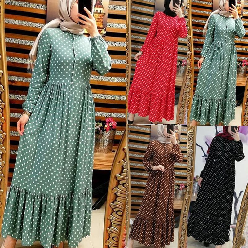 Siskakia Polka Dot Printing Long Dress Casual Muslim Dresses Single-breasted High Waist Swing Ruffles Draped Patchwork Design
