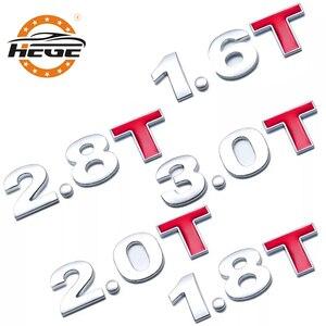 Car displacement standard sticker 1.0 1.2 1.5 1.8 2.0 2.2 2.4 2.5 2.8 3.0 T Metal 3D Car Trunk Emblem tail badge logo stickers