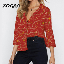 2019 Blouse Women Chain Print Long Sleeve Chiffon Blouse Lady Vintage Office Blouse Turn-Down Collar Shirt Loose Plus Size Tops plus size women blouse fashion long sleeve heart print blouses turn down collar lady office shirt elegant casual loose tops